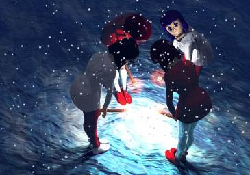 4 girls bowing in the snow